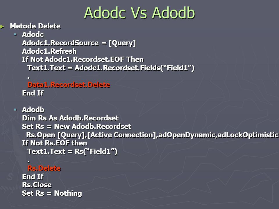 Adodc Vs Adodb Metode Delete Adodc Adodc1.RecordSource = [Query]